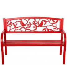 Evergreen Garden Patio and Outdoor Seating Cardinal Metal Garden Bench in Red 50 x 33 x 21 Inches - Decorative and Durable Weather Resistant Outdoor Chair Seat for Home and Garden