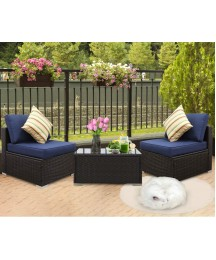 EXCITED WORK 3PCs Outdoor Rattan Sectional Sofa- Patio Wicker Furniture Set with Washable Couch Cushions (Dark Blue)