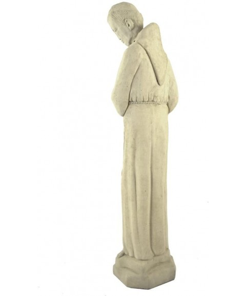American Made Vintage Mission-Style St Francis with Dove Concrete Garden Statue, 24