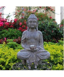 Meditating Buddha Garden Statues with Solar Powered LED Light,Outdoor Zen Buddha Sculptures,Chinese Feng Shui Buddhist Gift for Patio Porch Yard Decoration (Color : B, Size : 40x24cm(16x9inch))