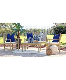 Coaster Home Furnishings 6912605 Thoreau 4-Piece Wire Brushed Outdoor Conversation Set with Cushion Seat, Natural