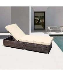 DIMAR garden Outdoor Rattan Patio Folding Chairs Bed Conversation Set Chaise Lounge Furniture Upholstered Wicker Lawn Garden Pool Beach Courtyard Adjustable Deck Chair Weather Sofa Daybed (Mix Brown)