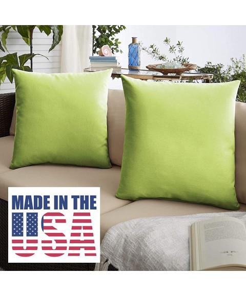 1101Design Sunbrella Canvas Macaw Knife Edge Decorative Indoor/Outdoor Square Throw Pillows, Perfect for Patio Décor - Macaw Green 20