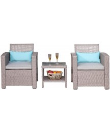COSIEST 3-Piece Outdoor Patio Furniture Taupe, Open-Weave Wicker Armchairs w Warm Gray Cushions, 2 Turquoise Lumbar Pillows, Frosted-Glass-Top Table Bistro Set for Garden, Pool, Backyard