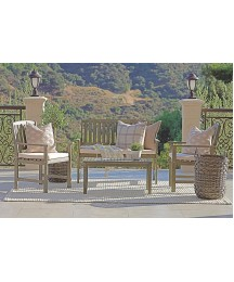 Coaster Home Furnishings 6812605 Thoreau 4-Piece Wire Brushed Outdoor Conversation Set with Cushion Seat, Grey
