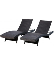 Abbyson Living Outdoor Adjustable Chaise Lounge Chair Set of 2 Wicker Patio Chairs, Espresso