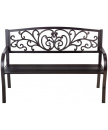 Evergreen Garden Patio and Outdoor Seating Blooming Garden Metal Bench in Black 50 x 33 x 21 Inches - Decorative and Durable Weather Resistant Outdoor Chair Seat for Home and Garden