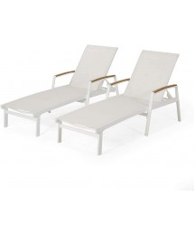 Christopher Knight Home Teresa Outdoor Aluminum Chaise Lounge with Mesh Seating (Set of 2), White