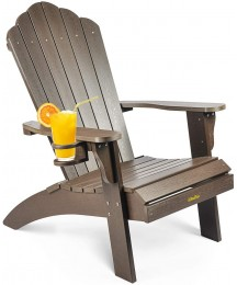 Adirondack Chair, Weather Resistant Hard Plastic Outdoor Adirondack Chair with Cup Holder, Comfortable Easy to Assemble and Maintain, Outdoor Chair for Patio Garden, Load Bearing 350 lbs (Dark Brown)