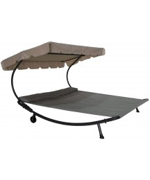 Abba Patio Outdoor Double Chaise Lounge with Adjustable Canopy and Headrest Pillow, Patio Wheeled Hammock Bed for Sun Room, Garden, Courtyard, Poolside, Beige, 6.6'L x 6.5'W