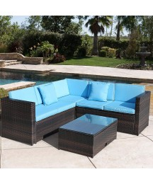 BWM.Co 4-Piece PE Rattan Patio Sectional Wicker Outdoor Furniture w/Table and Ottoman