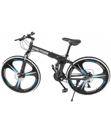 26in Mountain Bike Folding Bikes with High Carbon Steel Frame, Shimanos 21 Speed Bicycle for Men and Women, Full Suspension MTB Bikes, Outdoor Racing Cycling, Camping Holiday Birthday Gifts