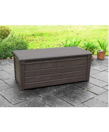 120 Gallon Durable Brightwood Deck Box With Automatic Opening Mechanism Multifunctional As A Comfortable Seating Area For 2 Adults Ideal For Your Outdoor Living Space Patio Deck Garden Storage Box