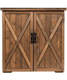 2 Doors Wooden Storage Shed Storage Cabinet Premium Fir Wood Construction Tools Lawn Care Equipment Pool Supplies Kettles Shovels Water Pipes Storage Organizer Metal Handles with Magnetic Door Catch