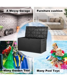 120 Gallon Resin Outdoor Storage Box Large Deck Box, Organization and Storage for Garden Tools, Patio Furniture, Outdoor Toys and Pool Accessories, Black