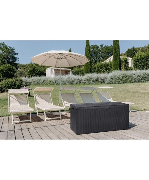 (GG) Cabinet Weather Resistant Resin 90 Gallon Deck Box Storage Bench, Gray Black