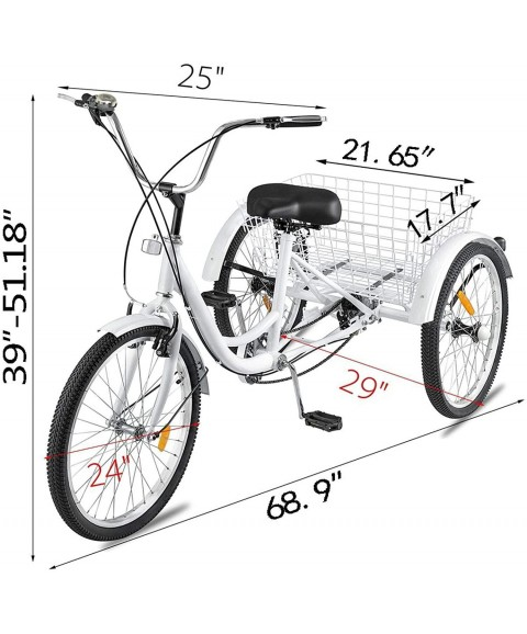 Adult Tricycle Bike, 7 Speed 24in 3-Wheel Bikes with Installation Tools, Three-Wheeled Bicycle Cruiser Tricycle with Shopping Basket for Recreation Shopping, Unisex Comfort Bikes Road Tricycle