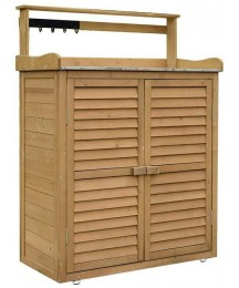 3-layer outdoor storage shed garden wooden tool box cabinet double-door waterproof sunscreen patio balcony sundries storage cabinet, with galvanized roof, hooks, used for garden lawn swimming pool